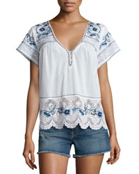 Calypso St. Barth Kerala Lace Inset Embroidered Top White