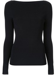 Dion Lee Shadow Ribbed Knit Top Black