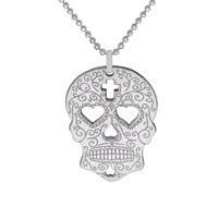 Cartergore Silver Sugar Skull With Heart Eyes Pendant Necklace