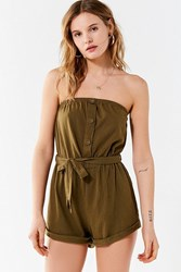 Out From Under Baylee Button Tube Romper Green