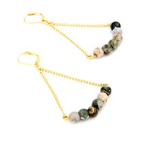 Salome Rebel Collection Jasper Earrings Gold Grey Brown