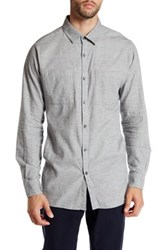 Kenneth Cole Long Sleeve Pocket Button Up Shirt Gray