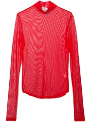 Nomia Sheer Mock Neck Top Red