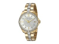 Bulova Crystal 98L228 Stainless Steel Yellow Gold Pave Dial Watches