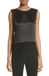 Brandon Maxwell Women's Silk Satin Crop Tank Black