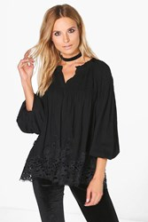 Boohoo Crochet Trim Smock Shirt Black