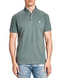 The Kooples Mandarin Collar Pique Slim Fit Polo Shirt Green