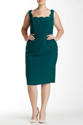 Single Dress Scalloped Trim Sheath Dress Plus Size Green