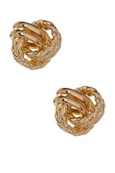 Candela 14K Yellow Gold Rope Textured Love Knot Stud Earrings Metallic