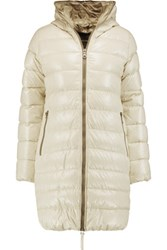 Duvetica Ace Quilted Shell Down Hooded Coat Off White