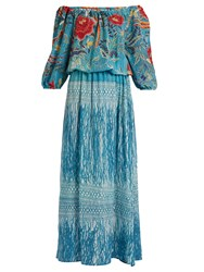 By Walid Nan Silk Crepe De Chine Dress Blue Print