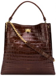 Max Mara Croc Effect Tote Bag Brown