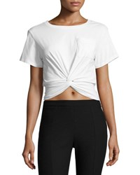 Cinq A Sept Shiloh Twist Front Cropped Tee Ivory