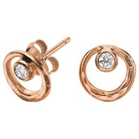 Dower And Hall 18Ct Vermeil Circle Stud Earrings Rose Gold White Topaz