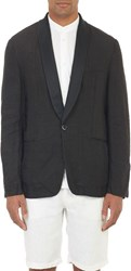Barena Venezia Linen One Button Dinner Jacket Black Size 50 Eu
