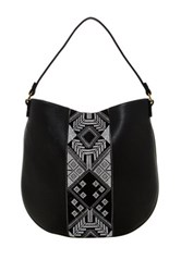 T Shirt And Jeans Embroidered Hobo Bag Black
