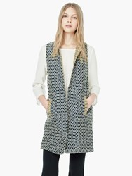 Mango Jacquard Cotton Blend Gilet Navy Multi
