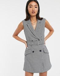 Bershka Sleeveless Blazer Dress In Multi Black