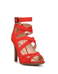 Franco Sarto Quincey Strappy Stacked Heel Sandals Red