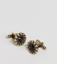 Reclaimed Vintage Inspired Red Jewel And Skull Charm Cufflinks In Gold Exclusive To Asos Gold