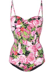 Dolce And Gabbana Rose Print Swimsuit Pink Purple
