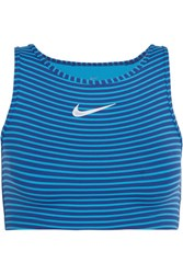 Nike Power Cropped Striped Dri Fit Stretch Jersey Tank Blue