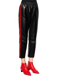 Drome Side Bands Cropped Nappa Leather Pants Black Red