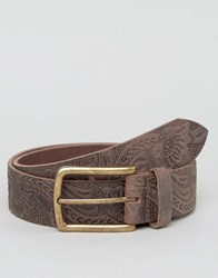 Asos Leather Wide Belt With Floral Emboss In Brown Brown