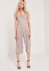 Missguided Petite Exclusive Pleated Culotte Jumpsuit Nude Cream