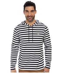 Lacoste Long Sleeve Hooded Stripe Tee Shirt Navy Blue White Men's Long Sleeve Pullover