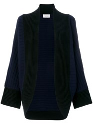 Michel Klein Open Front Cardigan Cashmere Wool Blue