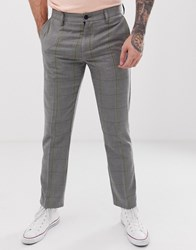 Pull And Bear Pullandbear Tailored Trousers In Grey Yellow Check