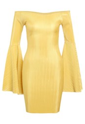 New Look Plisse Flare Sleeve Shift Dress Yellow