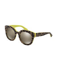 Dandg D And G Rounded Leopard Print Sunglasses Yellow