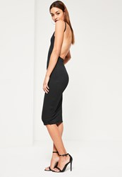 Missguided Black Square Neck Ribbed Open Back Midi Dress
