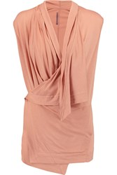 Rick Owens Draped Jersey Wrap Top Pink