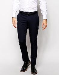 Selected Lux Tonal Check Suit Trousers In Skinny Fit Blueblack