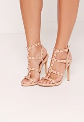 Missguided Dome Studded Gladiator Heels Nude