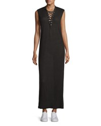 Iro Daisy Laced Linen Maxi Dress Black