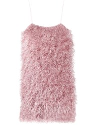 Laneus Feathered Mini Dress Pink