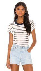 Lamade La Made Bbq Tee In Ivory. Navy And Red Stripe