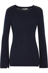 Autumn Cashmere Satin Trimmed Lace Up Sweater Midnight Blue