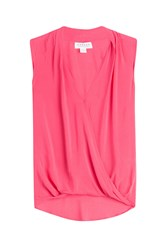Velvet Draped Sleeveless Blouse Pink