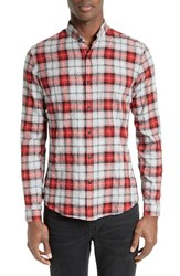 The Kooples Men's Modern Cowbow Trim Fit Plaid Band Collar Sport Shirt