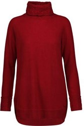 Magaschoni Cable Knit Trimmed Cashmere Turtleneck Sweater Claret