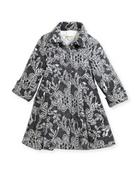 Helena Floral Topper Coat Gray White