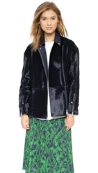 Whistles Yoko Soft Fur Jacket Navy