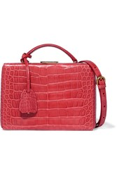 Mark Cross Grace Small Alligator Shoulder Bag Red