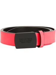 Dsquared2 Logo Buckle Belt Pink And Purple