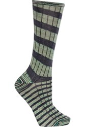 M Missoni Striped Wool Blend Socks Green